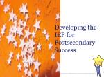 developing the iep for postsecondary success