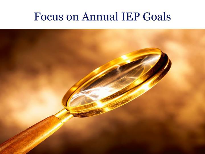 Focus on Annual IEP Goals