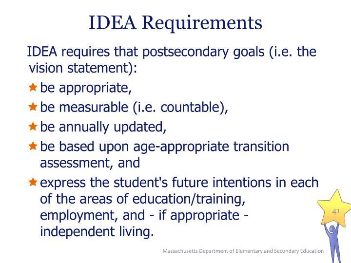 IDEA Requirements
