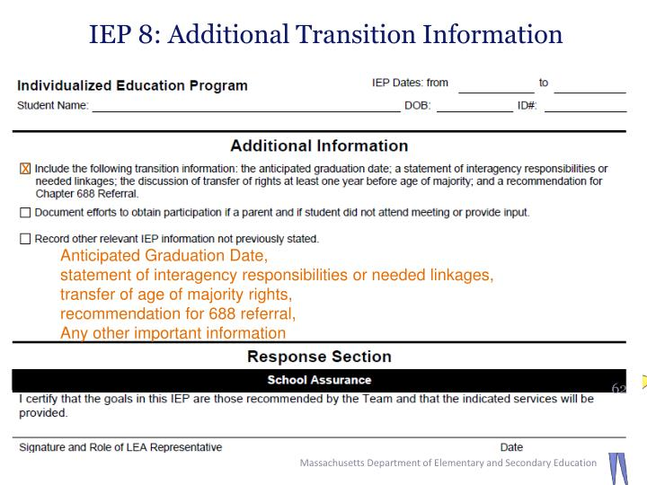 IEP 8: Additional Transition Information