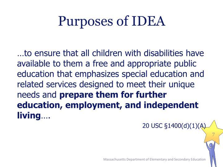 Purposes of IDEA