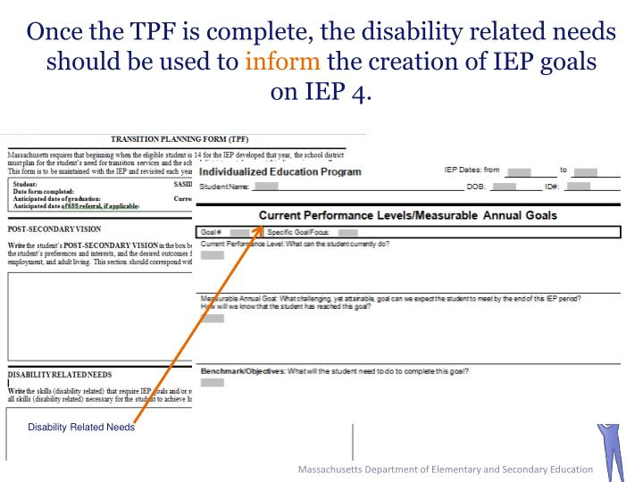 Once the TPF is complete, the disability related needs should be used to