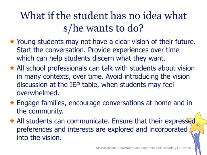 What if the student has no idea what s/he wants to do?