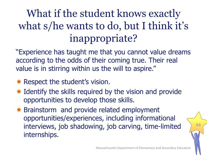What if the student knows exactly what s/he wants to do, but I think it's inappropriate?