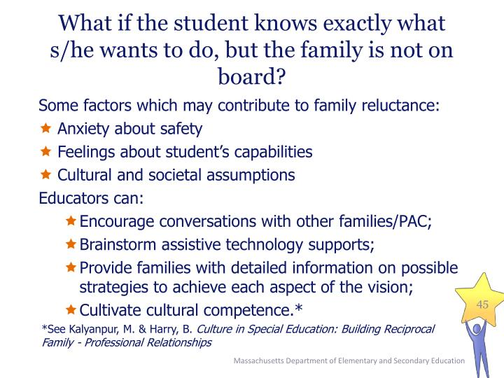 What if the student knows exactly what s/he wants to do, but the family is not on board?