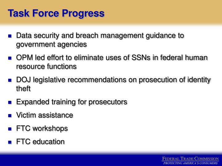 Task Force Progress