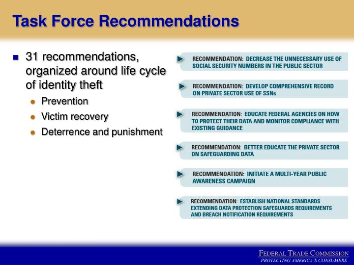 31 recommendations, organized around life cycle of identity theft
