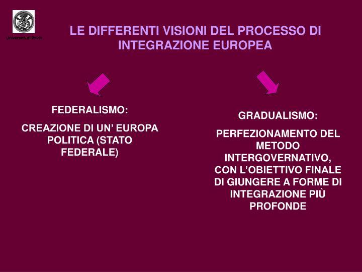 LE DIFFERENTI VISIONI DEL PROCESSO DI INTEGRAZIONE EUROPEA