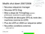 modifs shut down 2007 2008