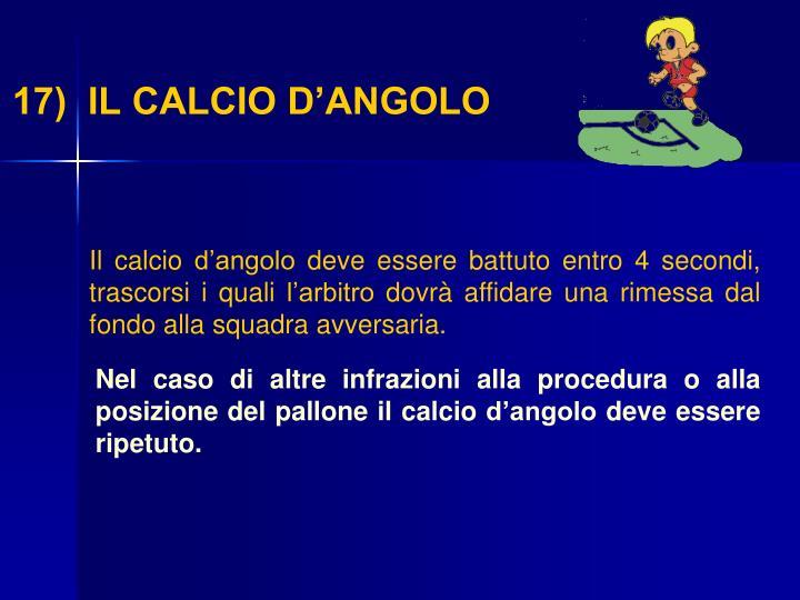 17)  IL CALCIO D'ANGOLO