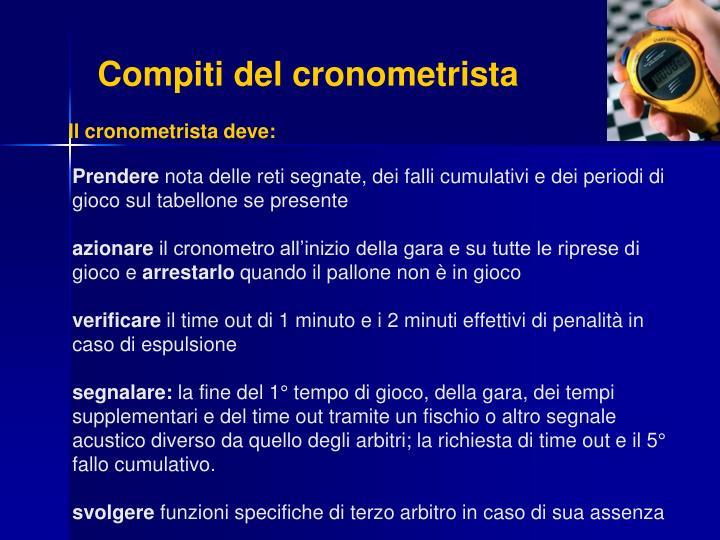Compiti del cronometrista