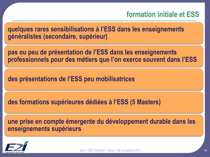 formation initiale et ESS