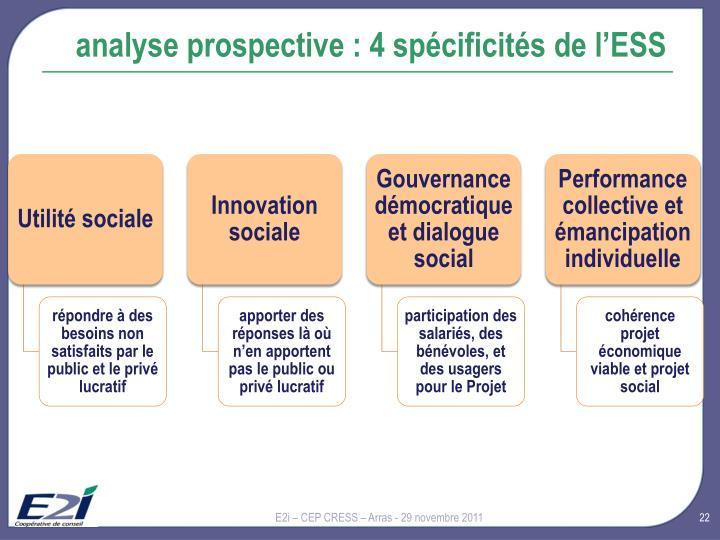 analyse prospective : 4 spécificités de l'ESS