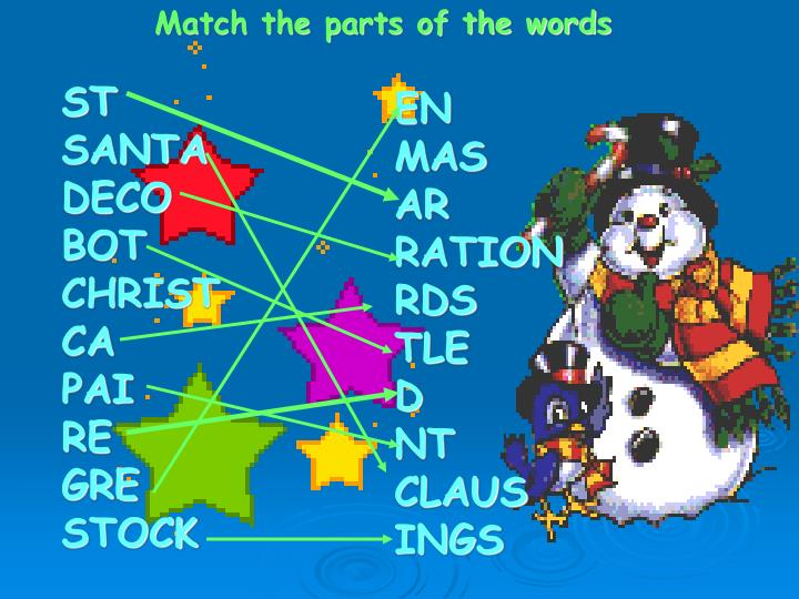 Match the parts of the words