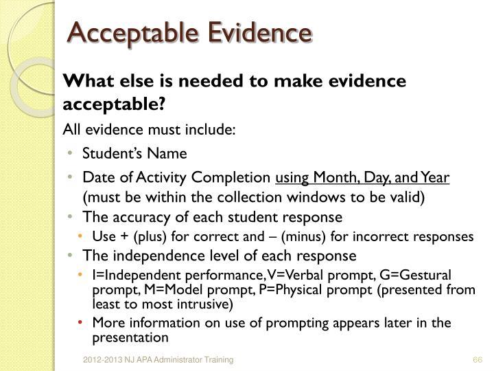 Acceptable Evidence