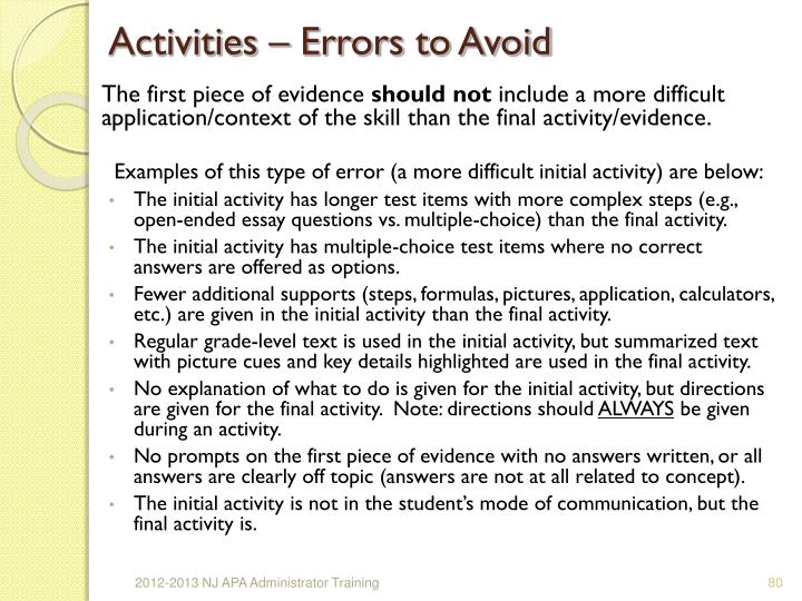 Activities – Errors to Avoid