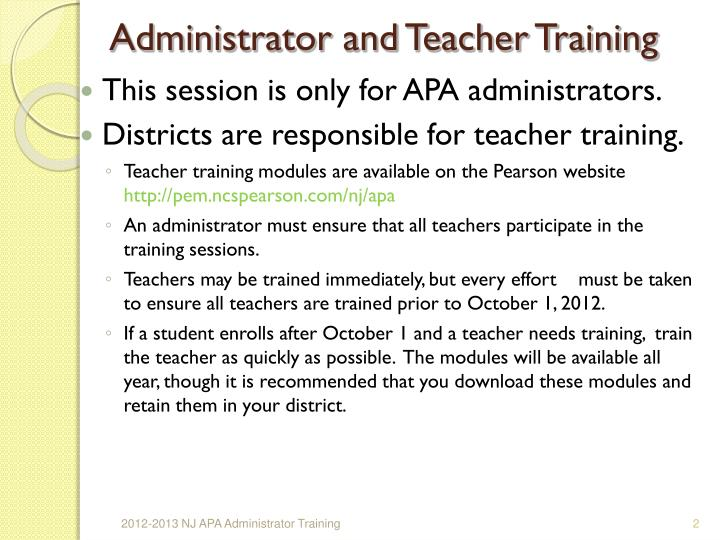 Administrator and teacher training