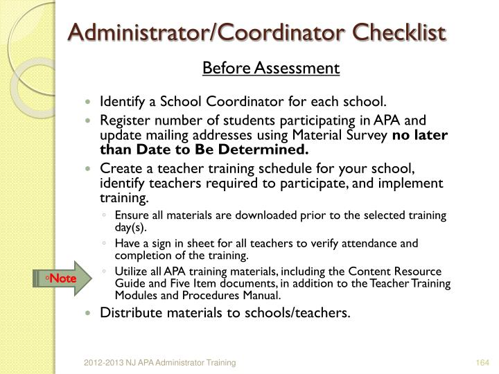 Administrator/Coordinator Checklist
