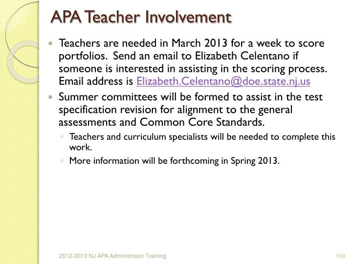 APA Teacher Involvement
