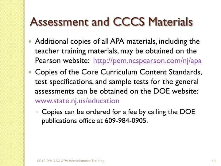 Assessment and CCCS Materials
