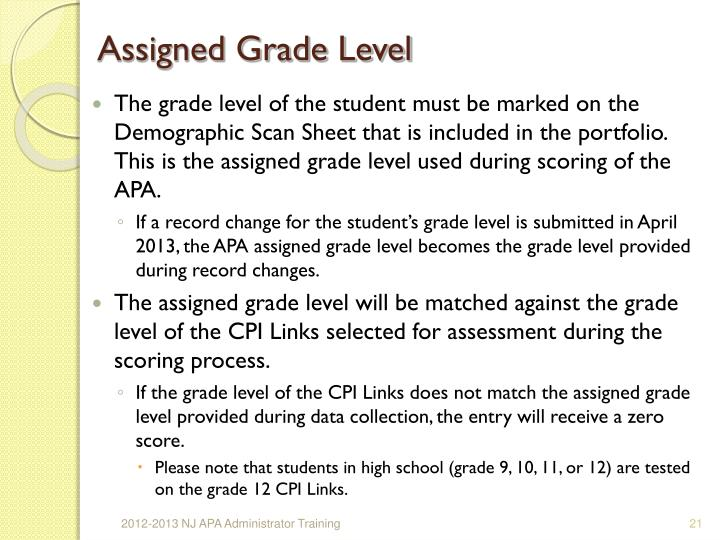 Assigned Grade Level