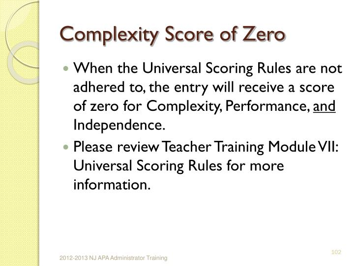 Complexity Score of Zero