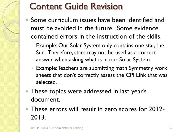 Content Guide Revision