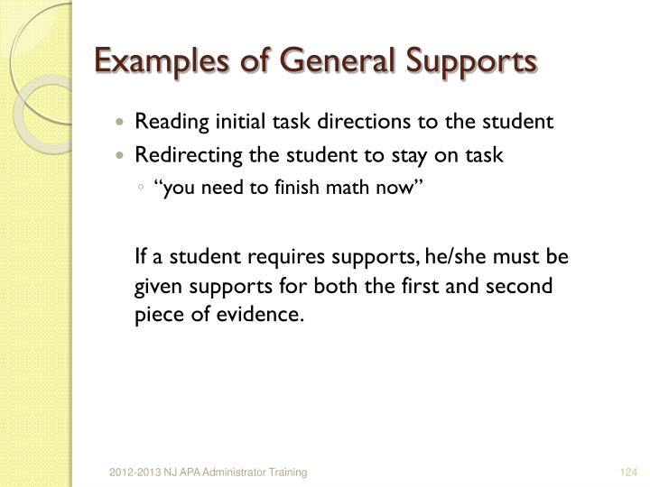 Examples of General Supports