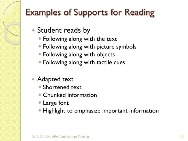Examples of Supports for Reading