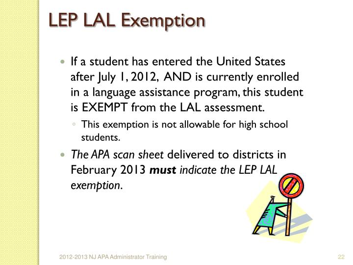 LEP LAL Exemption