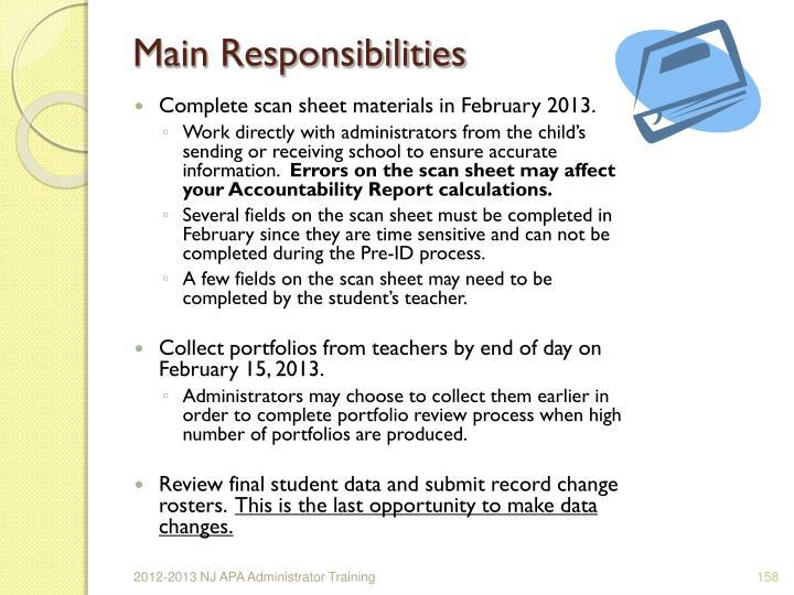 Main Responsibilities