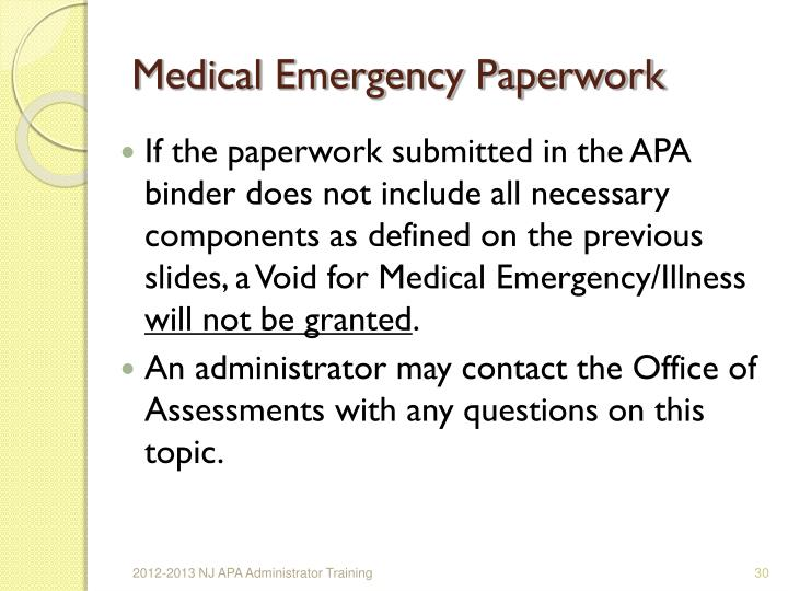 Medical Emergency Paperwork