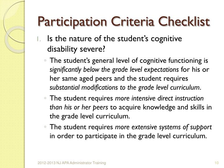 Participation Criteria Checklist