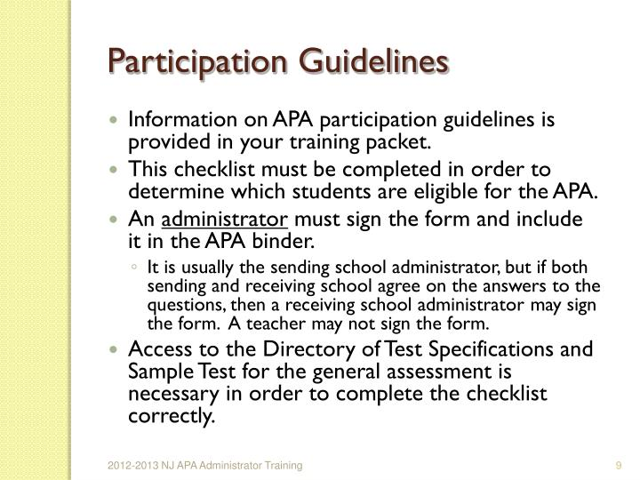 Participation Guidelines