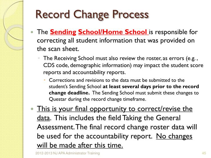 Record Change Process
