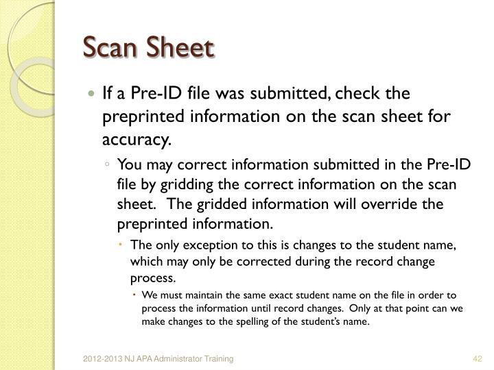 Scan Sheet
