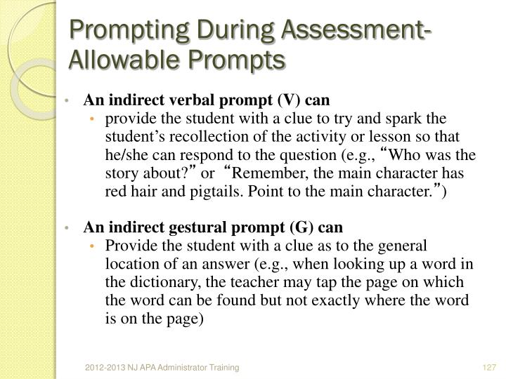 Prompting During Assessment- Allowable Prompts