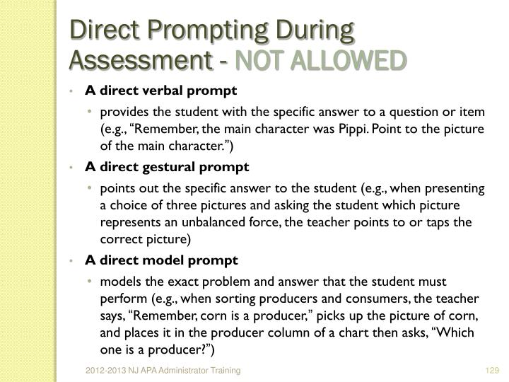 Direct Prompting During Assessment -