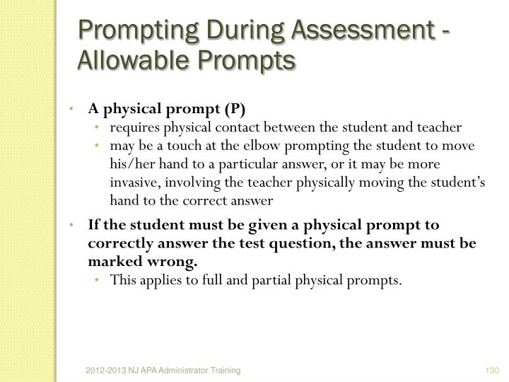 Prompting During Assessment - Allowable Prompts
