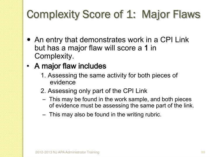 Complexity Score of 1:  Major Flaws