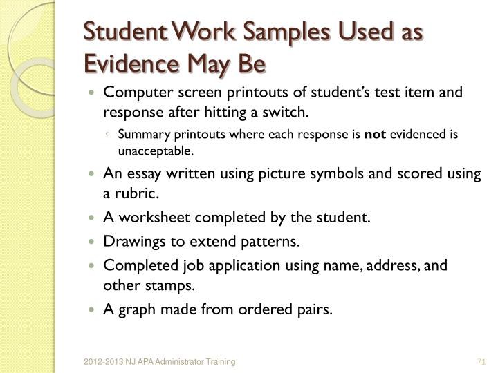 Student Work Samples Used as Evidence May Be