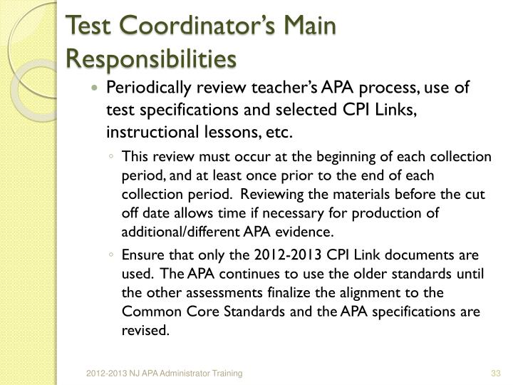 Test Coordinator's Main Responsibilities