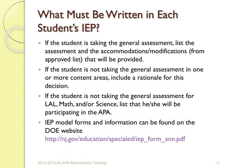 What Must Be Written in Each Student's IEP?