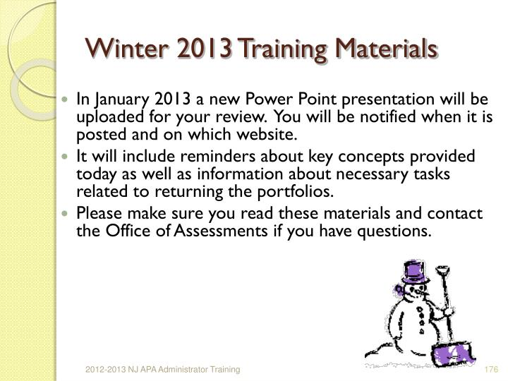 Winter 2013 Training Materials