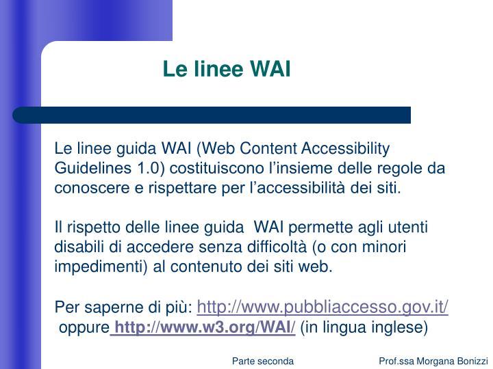 Le linee WAI