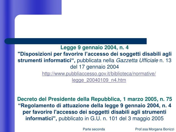 Legge 9 gennaio 2004, n. 4