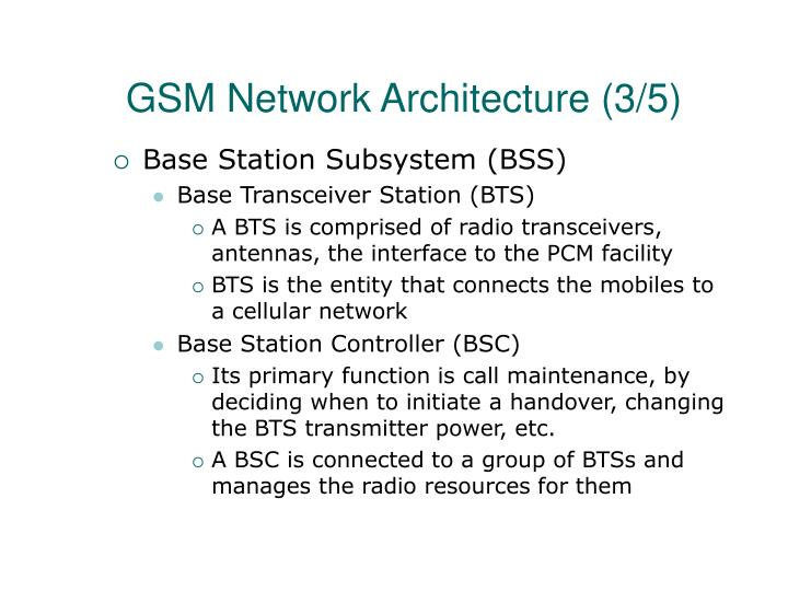 GSM Network Architecture (3/5)