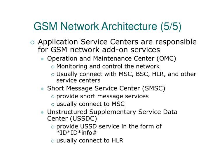GSM Network Architecture (5/5)