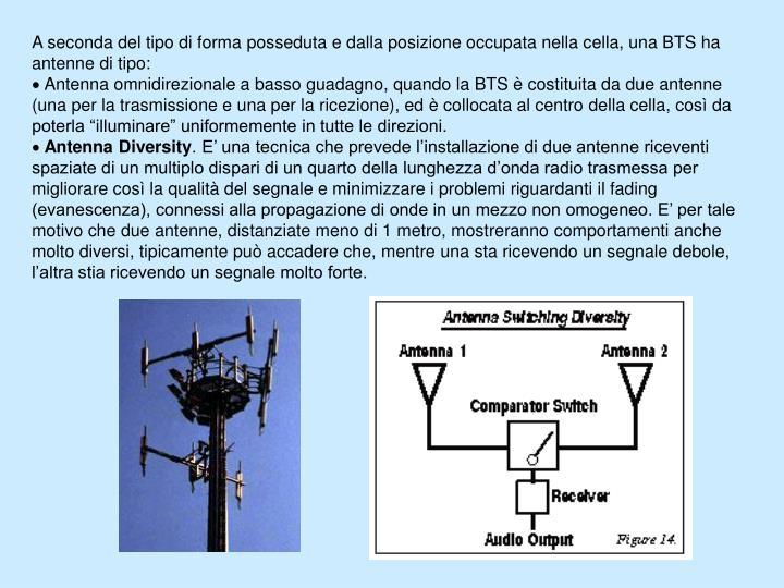 A seconda del tipo di forma posseduta e dalla posizione occupata nella cella, una BTS ha antenne di tipo: