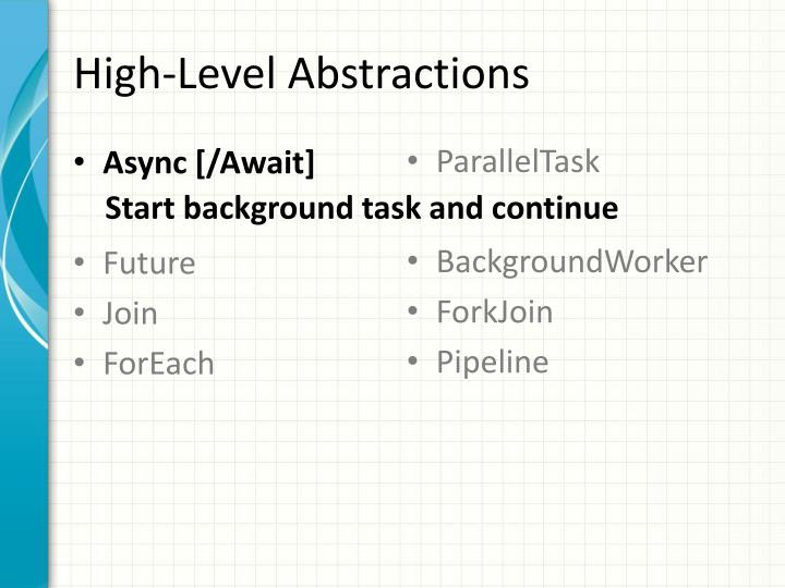 High-Level Abstractions